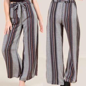 Shaw High Waist Long Pants, Striped relax belt